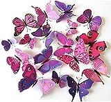 Oblique Unique 3D Schmetterlinge Blumen 12er Set Dekoration Wandtattoo (Alive (pink-lila))