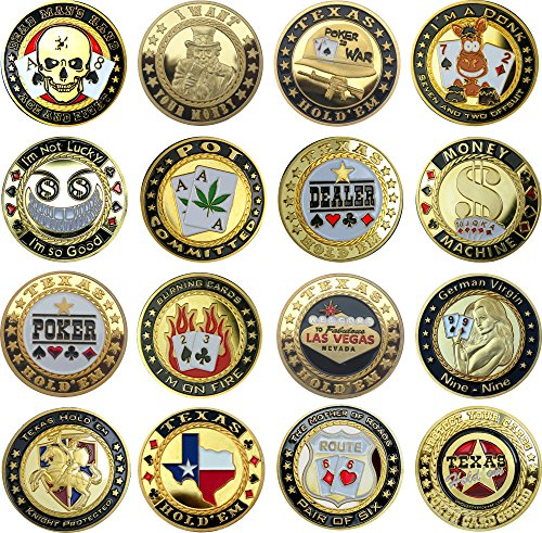 Pokerguard Poker Card Guard Set mit 15 Stück echt vergoldet, Pokerzubehör, Sammlerset (3 Card Poker-tisch)