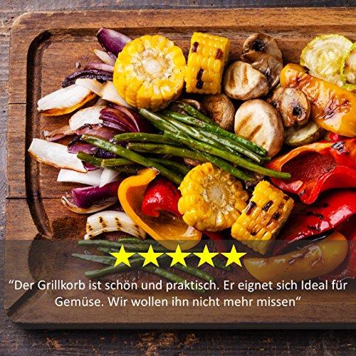61uoF g4O4L - Premium Gemüse-Grillkorb von Grill Republic | Große BBQ-Grillschale aus Edelstahl | Zubehör für Holzkohle-, Elektro- und Gas-Grill sowie Backofen | Spülmaschinenfest | Maße: 30 x 34 x 6 cm