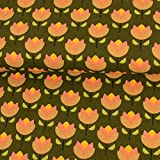 Stoffe Werning Dekostoff Jolly Tulips Tulpen tannengrün