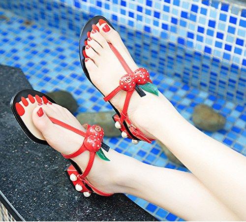 Minetom Donna Estate Dolce Ciliegia Perla T-Strap Flip Flop Sandals Peep Toe Scarpe Sandali Da Spiaggia Rosso