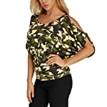 TINGZI Women Tees Casual Round Neck Off Shoulder Slim Print Plus Size Tops Blouse Cut Out Short Sleeve Tunic
