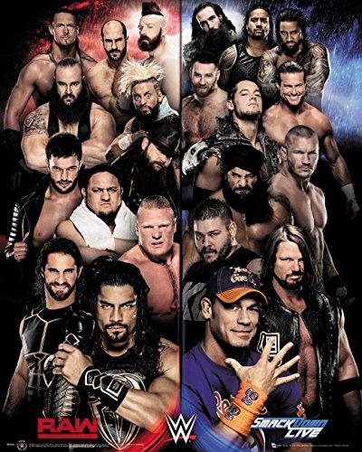 WWE Laminiert Mini Poster Raw VS Smackdown 40 x 50 cm
