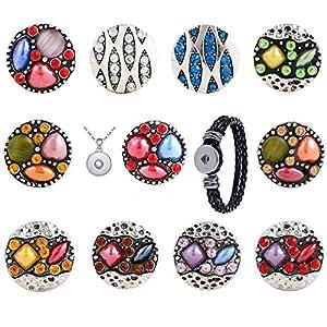 Morella Damen Click-Button Natur Set 11 Druckknöpfe mit Halskette Edelstahl 70 cm und Armband