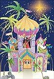 Real & Exciting Designs biglietto con calendario dell'Avvento con i tre Re Magi in un castello