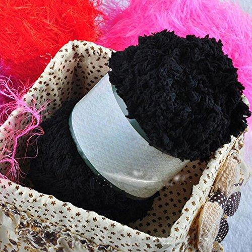 display08Baby warm Weiche Chenille Strickgarn Craft für Handtuch Coat Pullover DIY Werkzeug schwarz (Schwarze Chenille-pullover)