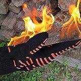 OULII Guantes BBQ cocina guantes - par de Barbacoa 30cm parrilla resistente al calor extremo 932° F guantes de cocina para antebrazo Extra protección