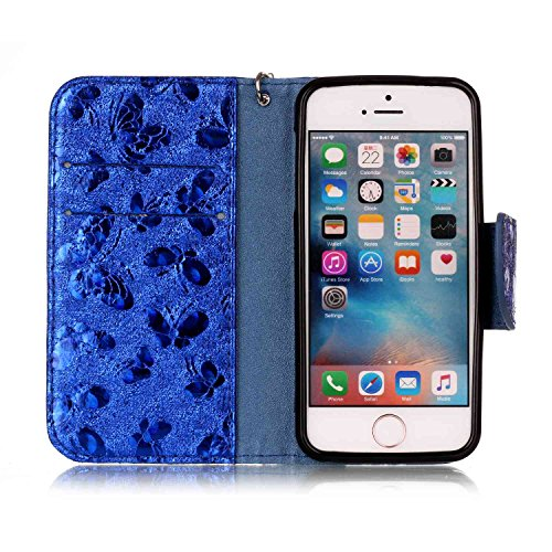 Coque iPhone 5S, iPhone SE Coque Portefeuille, SainCat Pochette Portefeuille en Cuir Véritable Coque de Protection Housse, Leather Case Wallet Cover Flip Protective Cover Skin Housse, Coque de Protect Bleu