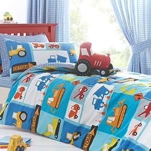 detour parure de lit chantier tracteurs pelleteteuses avec housse de couette 200x200cm 2. Black Bedroom Furniture Sets. Home Design Ideas