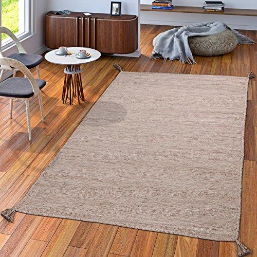 TT Home Handwebteppich Wohnzimmer Natur Webteppich Kelim Modern Baumwolle in Beige, Größe:120x170 cm
