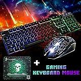 Hunpta@ Maus Tastaturmaus Sets, T6 Rainbow Backlight USB Ergonomische Tastatur und Maus für PC-Laptop (schwarz)