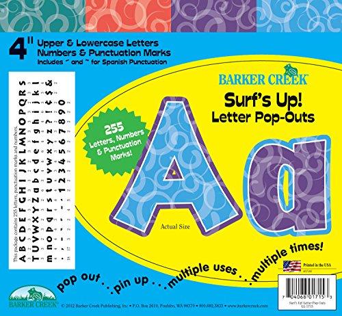 Barker Creek 10,2cm Poster Buchstaben und Bulletin Board Buchstabe pop-outs, Surf 's up. (ll-1715)