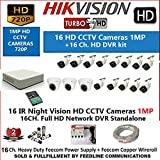HIKVISION 16-CHANNEL HD 1-MP ( 720P ) DVR WITH 1-MP ( 720P ), 3-PC DOME CAMERA 1MP & 13-PC BULLET CAMERA 1MP WITH NIGHT VISION