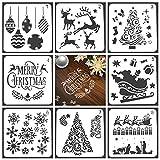 womdee 8 Stück Weihnachten Schablone, Wiederverwendbare Weihnachts Vorlage, Weihnachtsbaum Schneeflocken Glocken Rentier Zeichenschablonen, für Zeichnung Malerei auf Holz, Handwerk Kartenherstellung