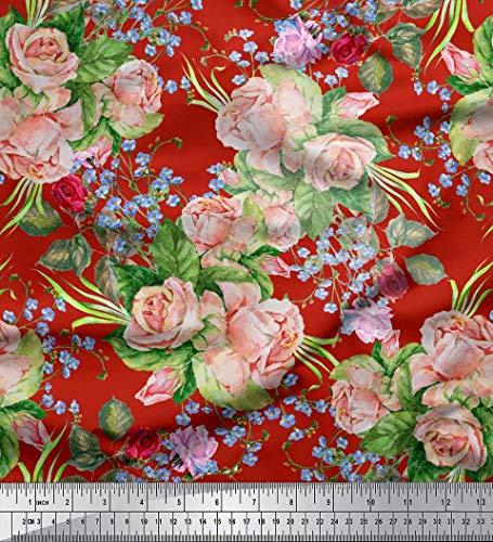 Soimoi Rot schwere Leinwand Stoff Blätter, Strandschnecke & Rose Blumen- Stoff drucken 1 Meter 58 Zoll breit -