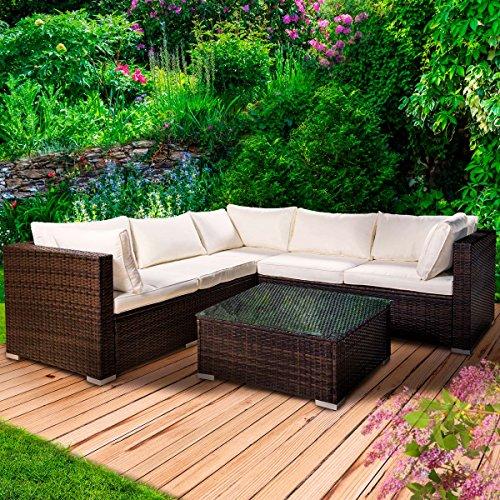 Poly Rattan Lounge Set Passion Braun Gartenmöbel Sitzgruppe Garten Garnitur Essgruppe Tisch Sessel Sofa