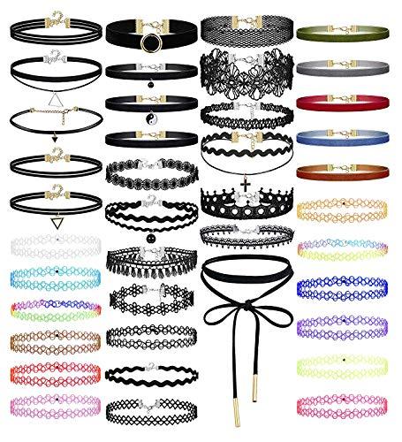 Finrezio Tattoo Choker Kette Set Enganliegende Halskette für Damen Mädchen Gothische Halsband Frauen
