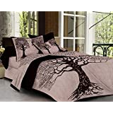 SheetKart Tree of Life 144 TC Cotton Bedsheet with 2 Pillow Covers - King Size, Superior Black