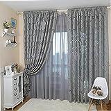 Tangbasi - Tende in tessuto voile per porte e finestre, motivo a foglie, decorazione per camera da letto, Gray, taglia unica