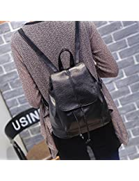 Women Girls Leather Backpack Purse Schoolbag Casual Daypack Fashion Top Tote Bags (Black)
