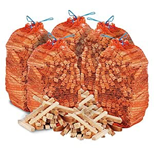The Chemical Hut 15kg Netted Natural Wooden Kindling Wood Sticks, Ideal Fire Starting, Open Fires, Stoves, Fire Pits, Home Fires, Camp Fires & Ovens - Comes THE LOG HUT Woven Sack.…