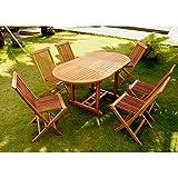 Le Leti : Salon de jardin teck 6/8 pers. 6 chaises et table ovale