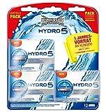 Wilkinson Sword Hydro 5 Rasierklingen Klingen, für Herren Rasierer Großpackung Jahresvorrat, 12 St