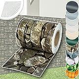 TecTake PVC Sichtschutzfolie Sichtschutzstreifen inkl. Befestigungsclips 450g/m - diverse Modelle - (35m Stein-Optik  Nr. 401869)