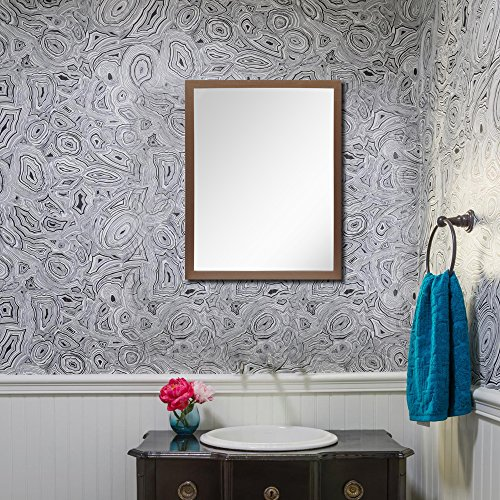 999Store hand painted brown wooden framed bathroom mirror