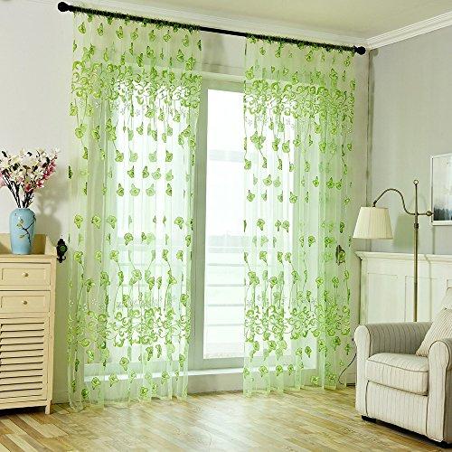 Syeytx Petunia versetzte Einteilige Vorhänge grünLeaves Gardinen-Tüll-Fensterbehandlung Voile Drape Valance 1 Panel Fabric (Weiße Und Schwarze Blumen-vorhänge)
