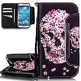 ISAKEN Hülle für Samsung Galaxy S4, PU Leder Flip Cover Brieftasche Geldbörse Wallet Case Ledertasche Handyhülle Tasche Schutzhülle mit Handschlaufe Strap für Samsung Galaxy S4 - Blumen Skull