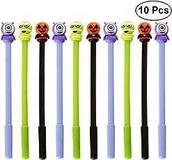 BESTOYARD Halloween Pen Schwarz Tintenroller Klassische Halloween Elemente Muster Tinte Zeichenfeder für Kinder Kinder Studenten 10 STÜCKE