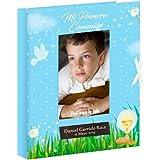 Libro de comunión para firmas y Fotos, Personalizado con Placa grabada con Nombre y Fecha (Azul)