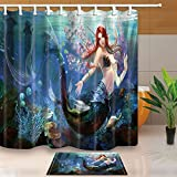 Decoración océano Beauty Mermaid con pelo rojo bajo el agua de mar 71X71en tejido de poliéster resistente al moho de la cortina de ducha con traje de 15.7x23.6en franela felpudo de piso antideslizante alfombras de baño