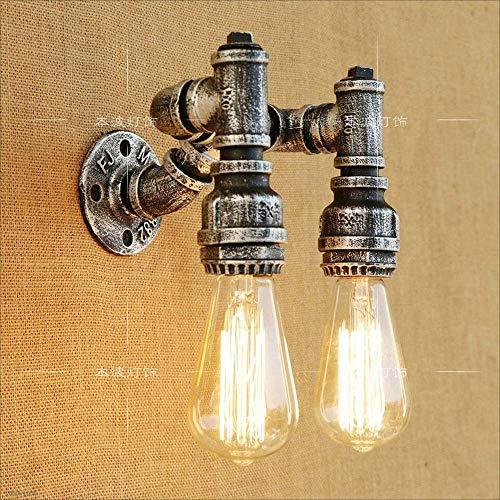 Hai Ying ♪ 2-lichts Retro Industrie Steampunk Wandleuchte Lampe Wandlampen Eisen Kunst Rohr Wasserpfeife Innen Dekorationen E27 Vintage Edison Glühbirne ♪ (Kunst Aus Glas, Wasserpfeife)