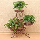 Dazone - Supporto metallico decorativo da giardino per piante in vaso, per 3 piante