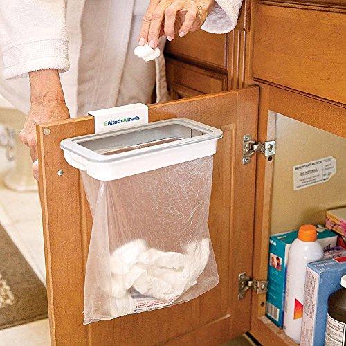 Attach a Trash - Abfalleimer-Halterung für Mülltüten zum Aufhängen, mit Clip-Montage an jeder Schranktür, Schublade oder Tür mit max. 15 mm Breite.