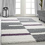Hochflor Shaggy Teppich für Wohnzimmer Langflor Pflegeleicht Schadsstof geprüft Teppiche Streifen Oeko Tex Standarts, Farbe:Lila, Maße:160x230 cm