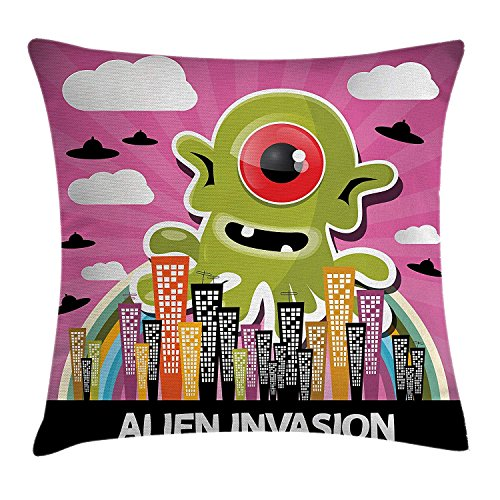 row Pillow Cushion Cover, Cute Deep Space Astronaut Girl Boy Aliens Rockets on Moon Kids Nursery Theme, Decorative Square Accent Pillow Case, 18 X 18 Inches, Multi ()