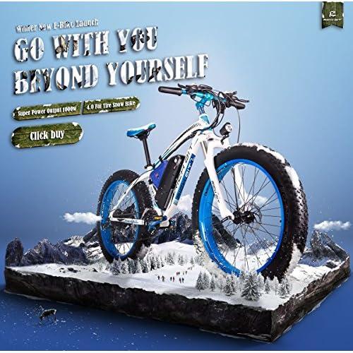 RICH BIT®RT-012 1000W Electric Bike eBike Cruiser Bicycle Cycling 48V*17Ah High Capacity Battery 7 Gears Suspension Fork Double Mechanical Disc Brake 4.0 Fat Tire Snow Bike Shimano Derailleur