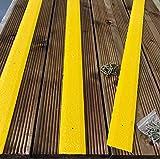 20Stück 1000mm rutschfeste Sonnendeck Streifen Terrassendielen Streifen 50mm breit schwarz braun beige grün grau gelb (gelb)