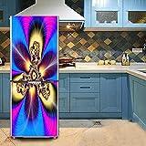 HHYS Bunt Abstrakt Blume Muster DIY Selbstklebend Wasserdicht 3D Kühlschrank Tür Aufkleber,60X150cm(23.6''X59'')