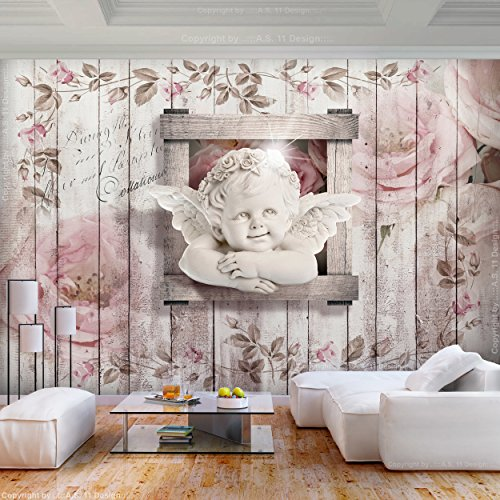 decomonkey | Fototapete Vintage Blumen Engel 400x280 cm XL | Tapete | Wandbild | Bild | Fototapeten | Tapeten | Wandtapete | Wanddeko | Rose Retro Holz Pflanzen | FOA0073a84XL
