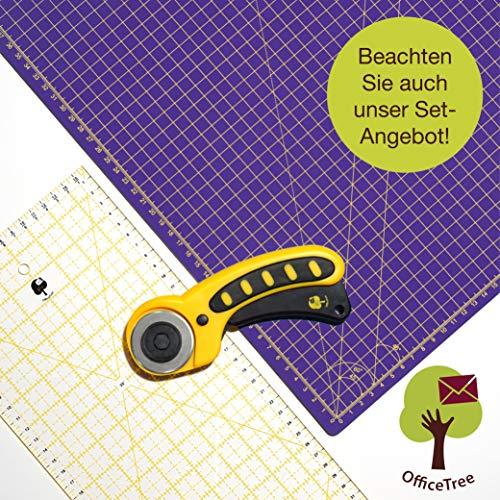 OfficeTree® Set Schneidematte A1 90x60 cm + Rollschneider + Lineal 60x16 cm - selbstheilende Schneideunterlage - für professionelle Schnittarbeiten (Lila/Pink)