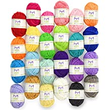 Hilo De Premium miniatura Value Pack–24Madejas de hilo de acrílico–varios colores–perfecto para cualquier Proyecto de crochet y tejer Mini–resellable Bolsa–5Regalos Gratis con cada paquete