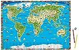 Illustrierte Weltkarte für Kinder und Erwachsene. Schreibtischunterlage