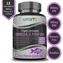 Naturyz Fish Oil 1400mg (Triple Strength) with 1000mg Omega 3 (600mg EPA, 400mg DHA) Pure, Mercury Free, Micro Filtrated, Burpless - 60 Softgels
