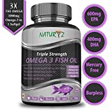 #6: Naturyz Fish Oil 1400mg (Triple Strength) with 1000mg Omega 3 (600mg EPA, 400mg DHA) Pure, Mercury Free, Micro Filtrated, Burpless - 60 Softgels
