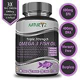 #10: Naturyz Fish Oil 1400mg (Triple Strength) with 1000mg Omega 3 (600mg EPA, 400mg DHA) Pure, Mercury Free, Micro Filtrated, Burpless - 60 Softgels