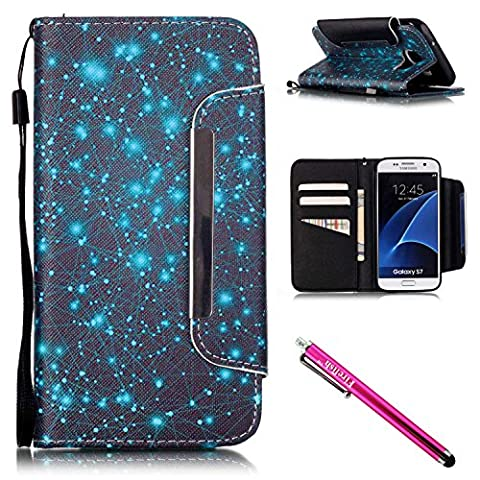 Coque Galaxy S7, Firefish [Kickstand] Housse de protection en cuir PU Housse de protection avec lanière Housse de protection magnétique Samsung Galaxy S7+ y compris un